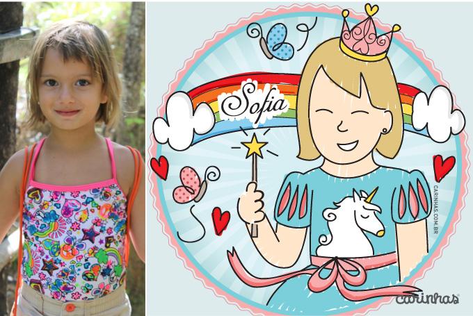 Carinha criada para Sofia no tema aniversário de arco íris e unicórnio